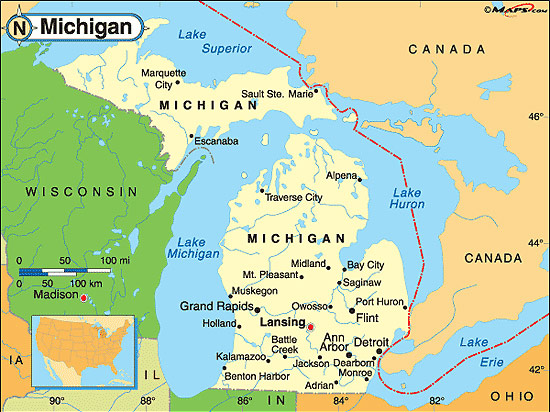 Karta Usa Sjoar.Michigan Fakta Om Michigan Amerikanska Stater