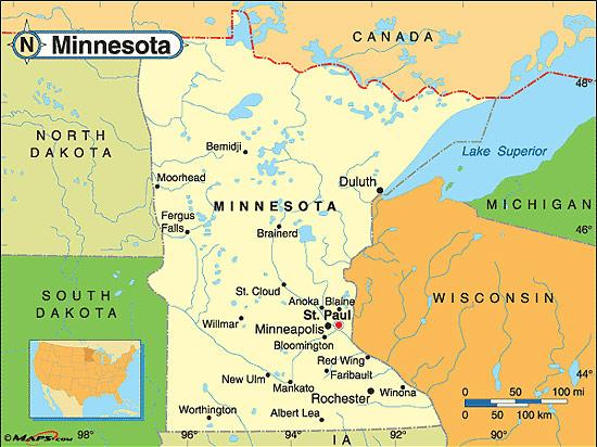 Karta Usa Sjoar.Minnesota Fakta Om Minnesota Amerikanska Stater